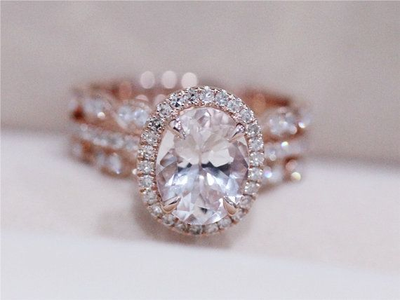 3 Rings Morganite Wedding Set VS 6X8mm Pink By AbbyandWills
