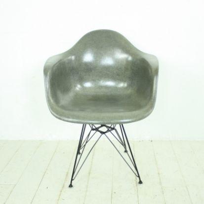 Eames Herman Miller Rope Edge DAR chair in Elephant hide grey on Original Eiffel base