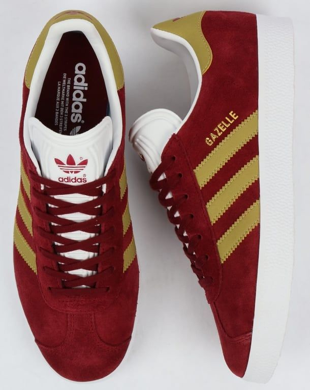 Adidas Gazelle Trainers Burgundy/Gold,originals,shoes,mens,sneakers