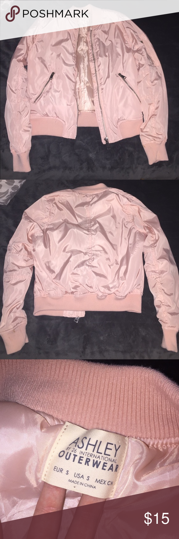 Pink Bomber Jacket Pink Bomber Jacket Maybe Worn Once Or Twice It Is A Size Small If You Would Like More Pictur Pink Bomber Jacket Pink Bomber Bomber Jacket [ 1740 x 580 Pixel ]