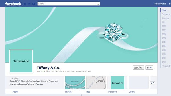 Facebook #Timeline Brand Pages sample - Tiffany #Social for Brands