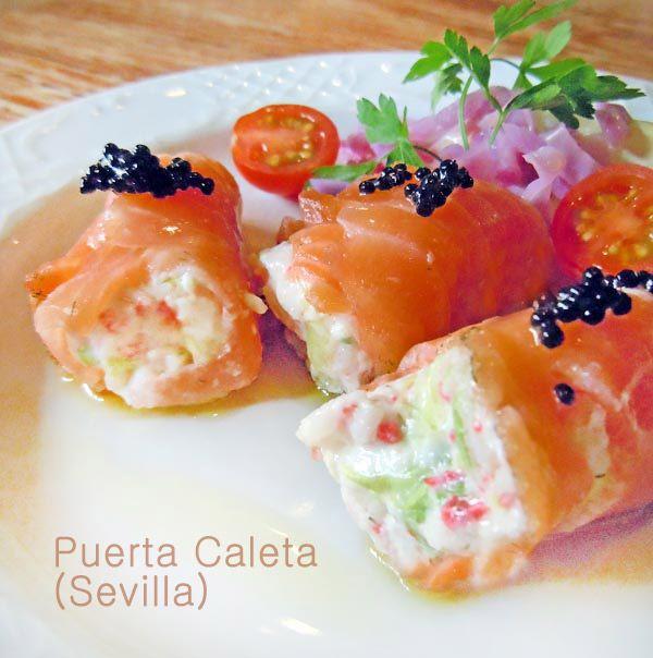 Receta de rollitos de salm n ahumado rellenos especial - Tapas con salmon ahumado ...