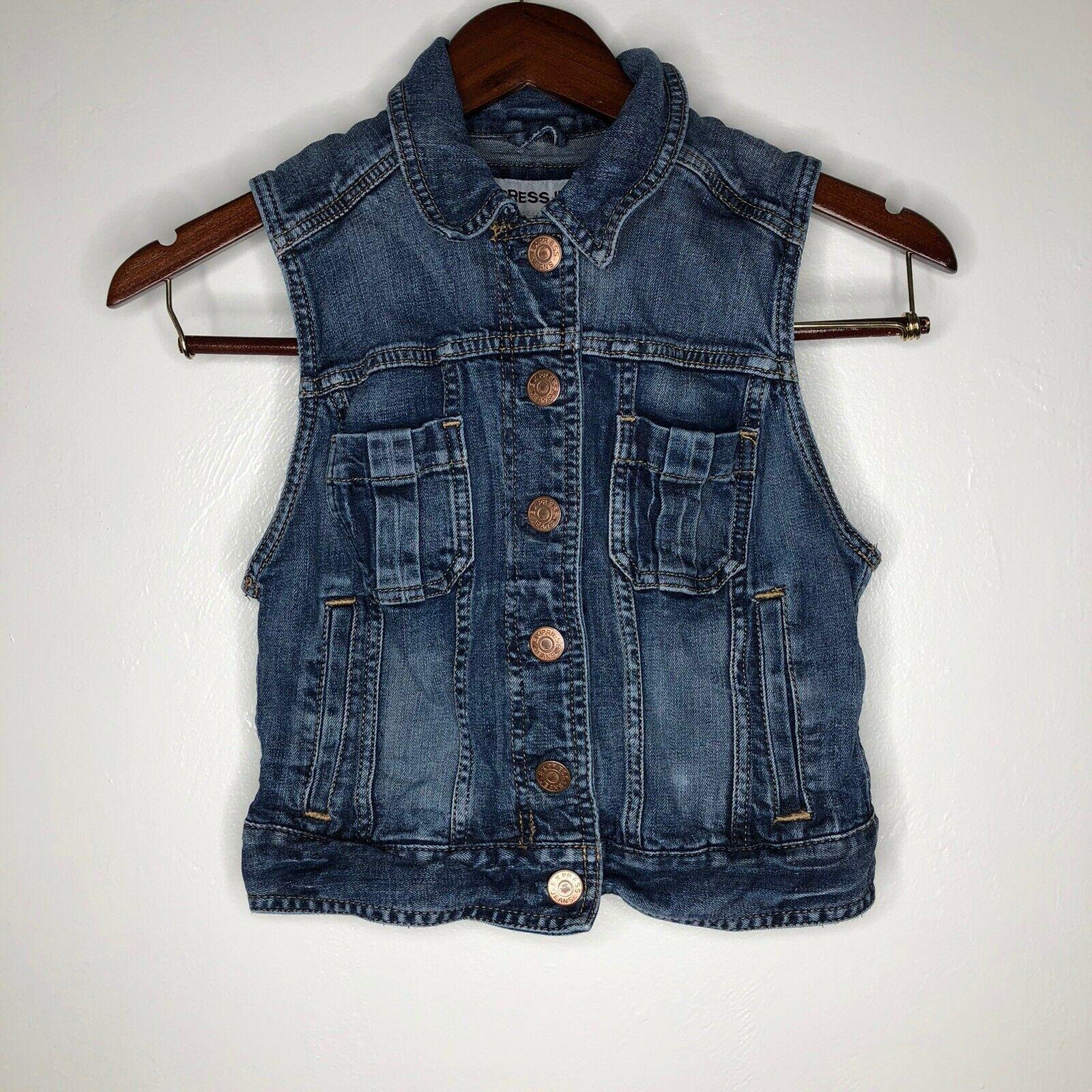 Express Womens Medium Wash Denim Vest Size Xs Sleeveless Jean Jacket 24 00 Women Jean Jackets Ideas Sleeveless Jean Jackets Denim Vest Medium Wash Denim [ 1600 x 1600 Pixel ]