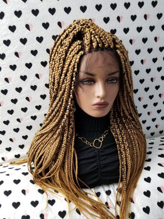 Hand Braided Handmade Box Braids Lace Front Wig Color 27