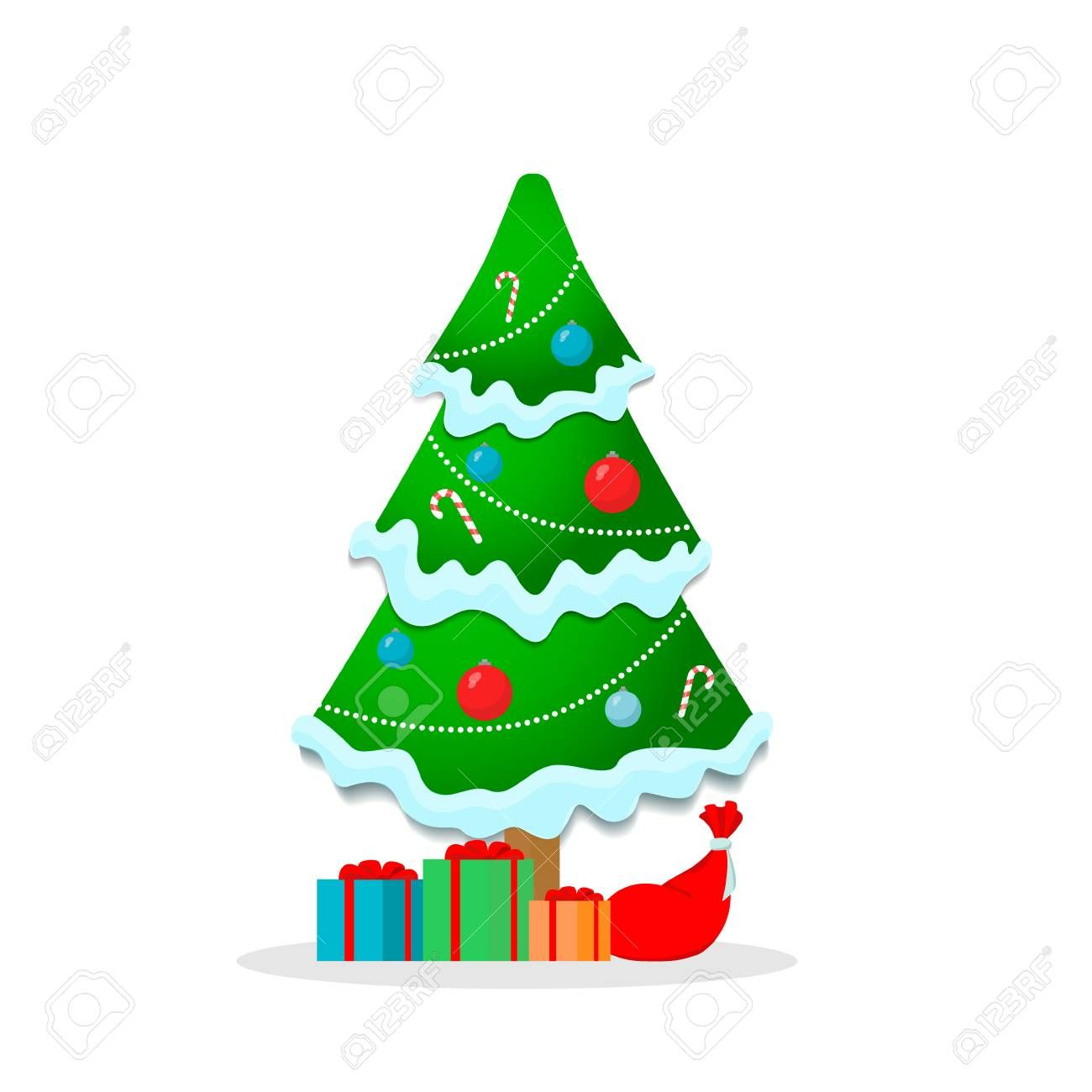 Beautiful Christmas Tree With Garland Snow Gifts And Candy Isolated On White Background Stock Photo Snow Gifts Beautiful Christmas Beautiful Christmas Trees