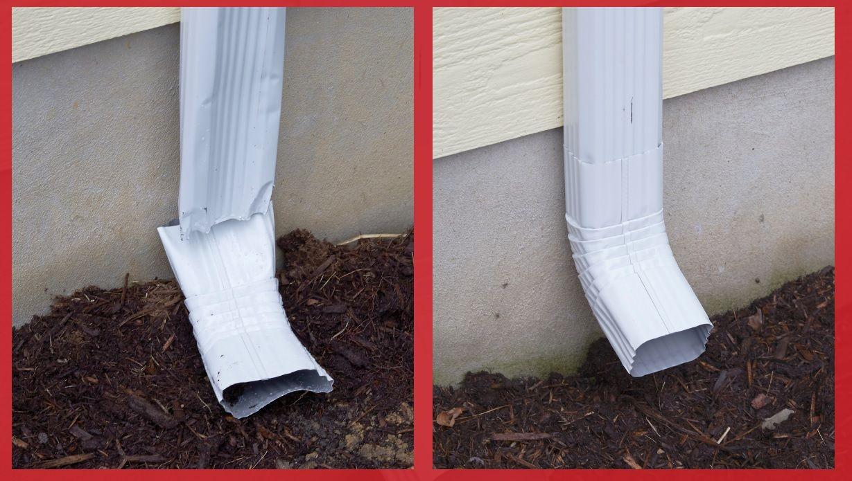 Repairing Gutter Downspouts Rain Gutter Diy Repairs Arrow Fasteners Diy Gutters Diy Repair Downspout