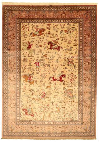 Qum silk pictorial signed: Mohammadi carpet VAC32 - a true ...