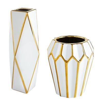 White & Gold Ceramic Vase is part of Gold Home Accessories Vase -