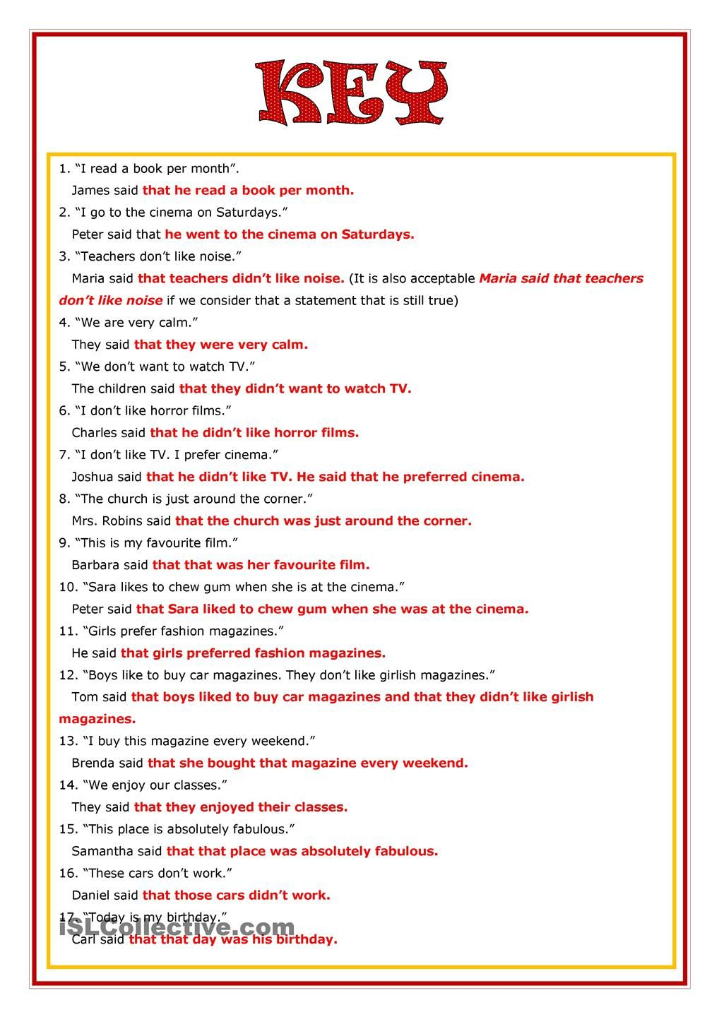 Reported Speech | Ahmed | Pinterest | Worksheets, Printable ...