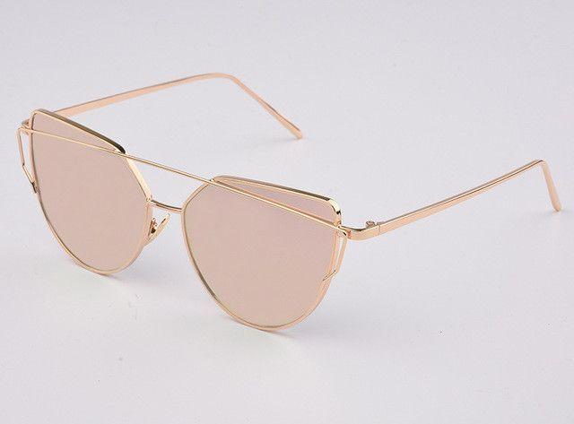 RunBird 2017 New Women Fahion Luxury Flat Top Cat Eye Sunglasses Women Twin Beam Sun Glasses Double-Deck Alloy Frame UV400 M195