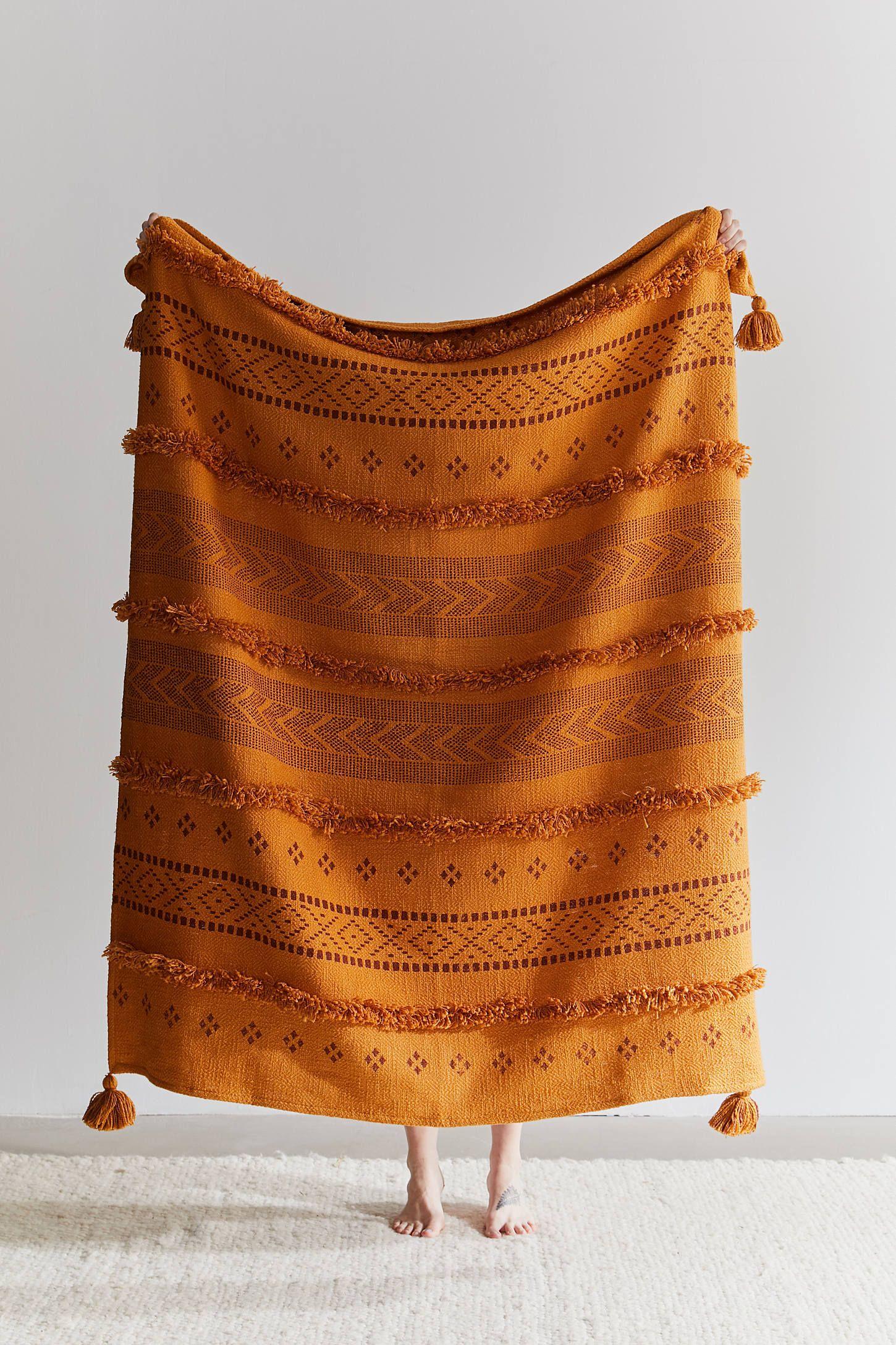 Sybil Tufted Throw Blanket Boho Throw Blanket Throw Blanket Woven Throw Blanket