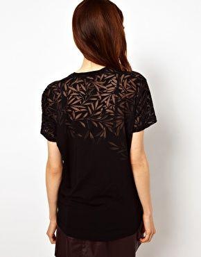 Ingrandisci Jonathan Saunders - T-shirt dévoré con motivo a foglie