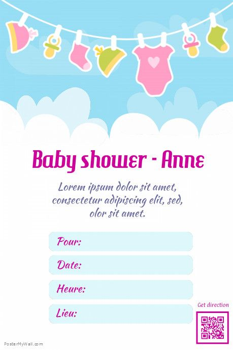 Flyer imprimable pour fête baby shower    wwwpostermywall - baby shower agenda template