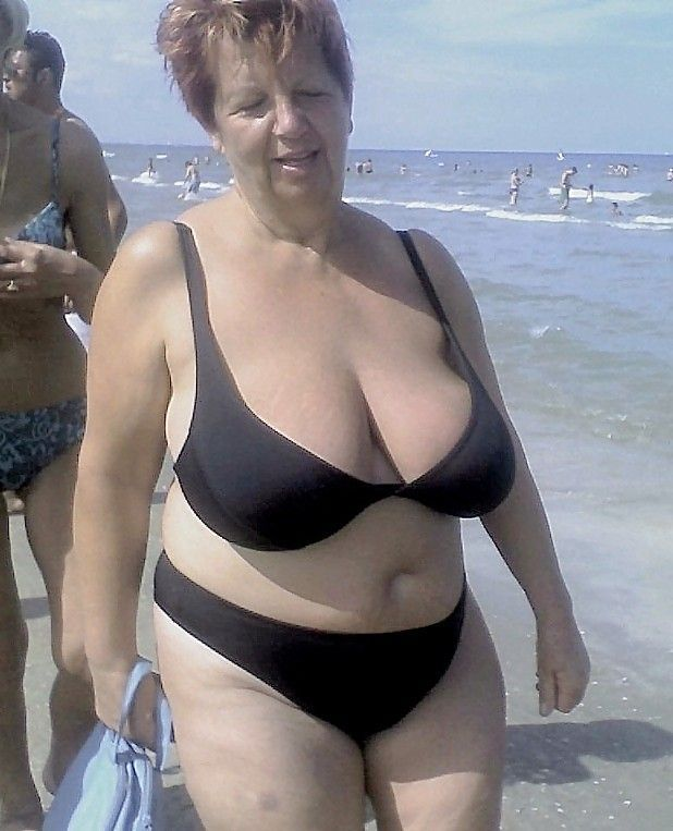 Old granny on beach