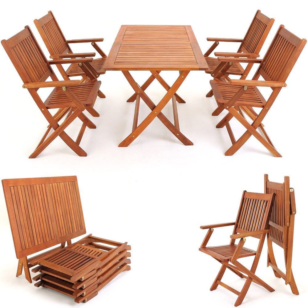 Outdoor Furniture Dining Set Foldable Table Chairs Garden Acacia