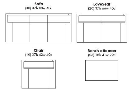 sofa dimensions common detail specs pinterest ottomans interiors and living rooms. Black Bedroom Furniture Sets. Home Design Ideas