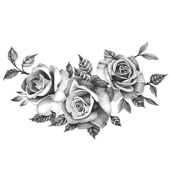 Drei wunderschöne Rosen – temporäre Tattoo / realistische Rosen Tätowierung / Schwarze Rosen / drei Rosen / Tätowierung große Rosen / Blumen temporäres Tattoo