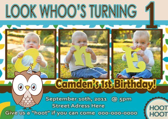 Owl Invite Boy 1st Birthday Party Invitation Look Whoos 1 Year Old P