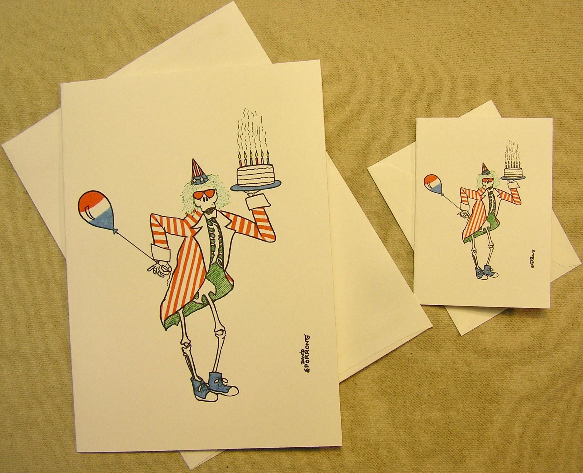 Grateful Dead Birthday Card Uncle Sam Regular size card and mini