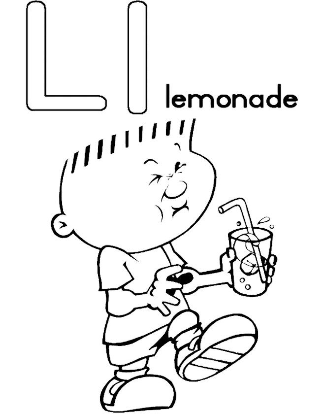 L For Lemonade Coloring Pages Alphabet Coloring Pages Coloring