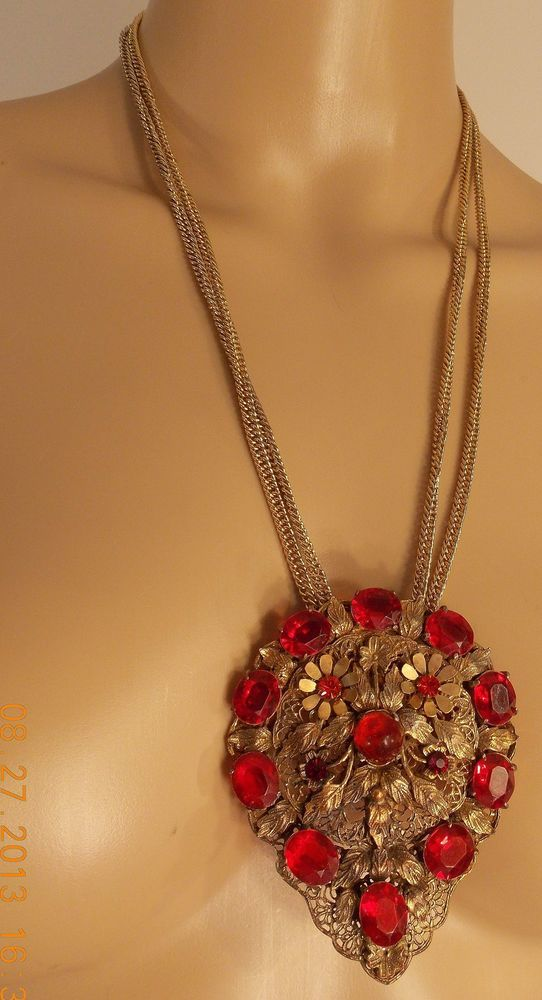 antique miriam haskell red stone 3.5 x 2.75 gold pendant dress clip necklac