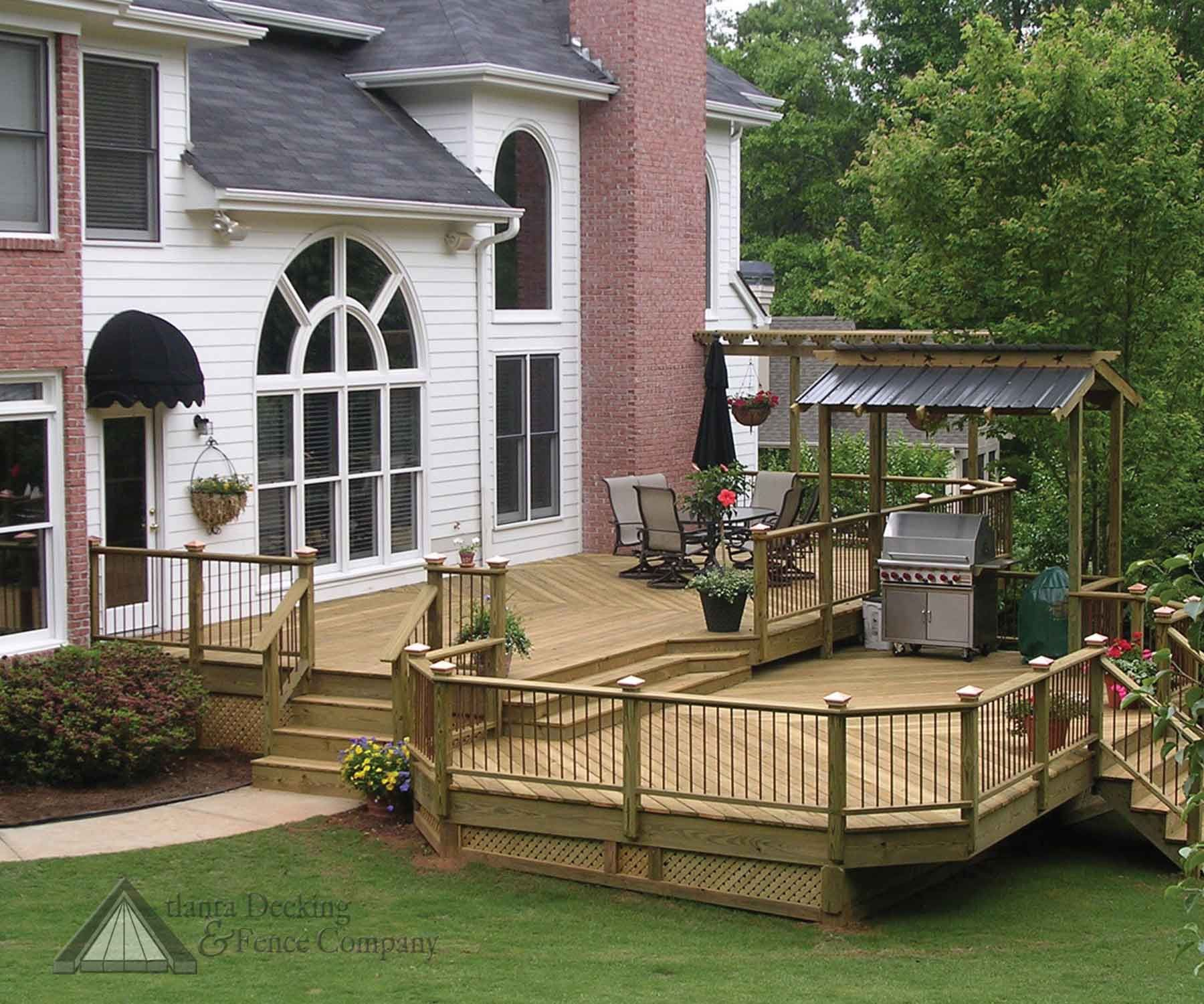2 tier deck tiered deck with bbq shed from atlanta decking and