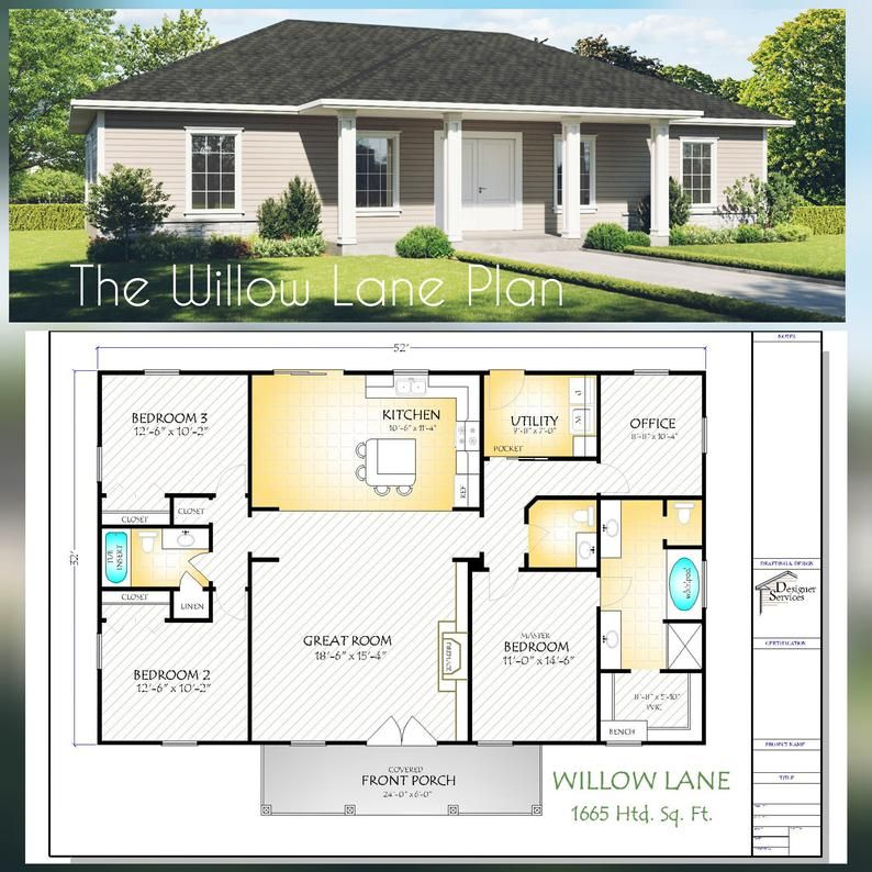 The Willow Lane House Plan Hip Roof Option