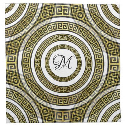 Greek Key Meander in Geometric Monogram Artdeco Cloth Napkin | Zazzle.com #clothnapkins