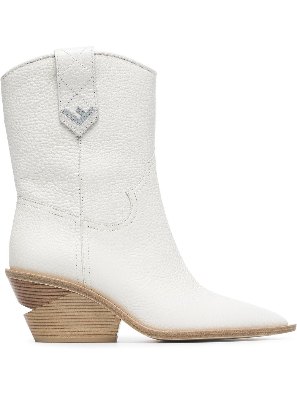 5a55e1bb96 Fendi White Cutwalk 60 Leather Boots | Products in 2019 | Boots ...