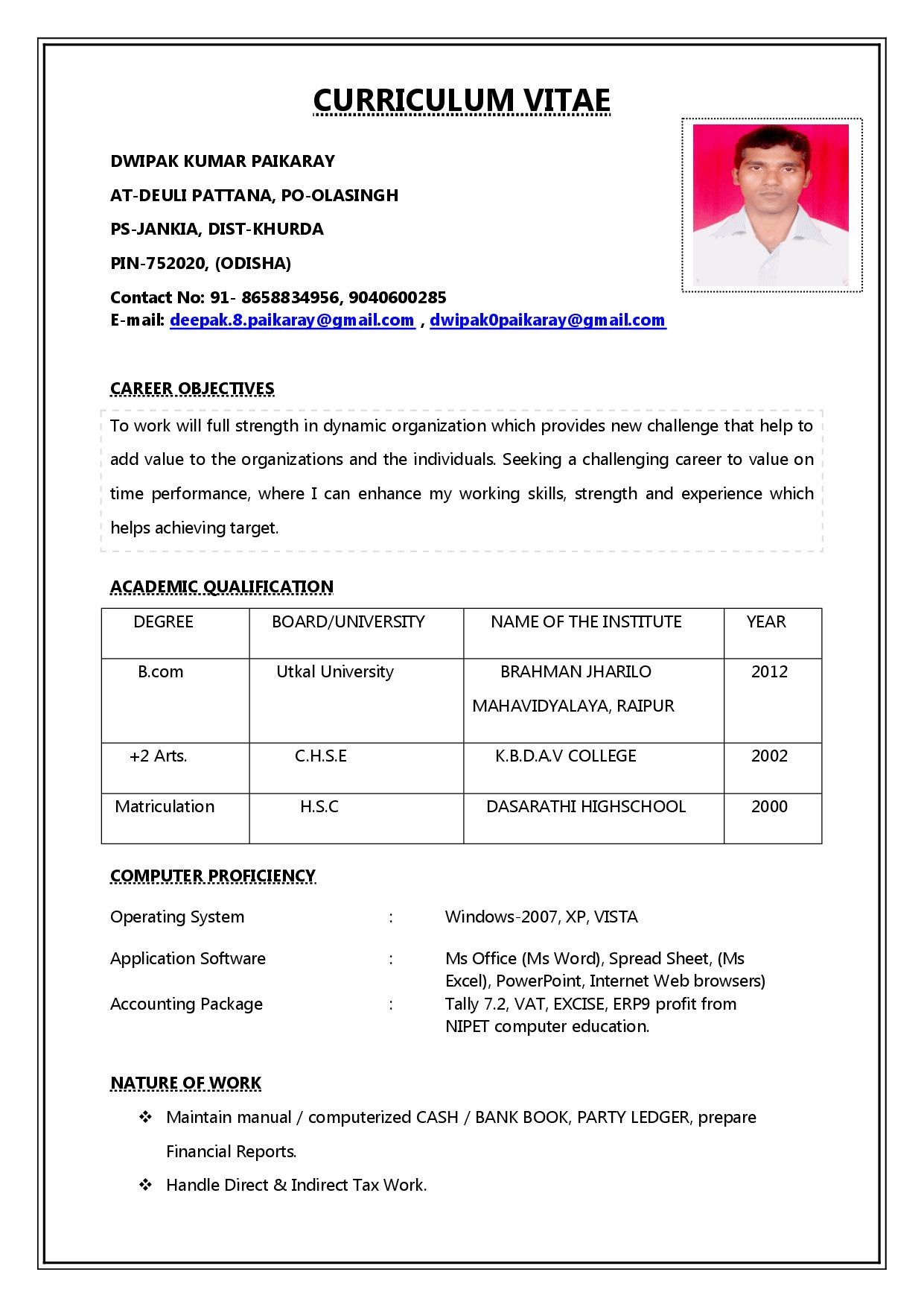 Resume Format Word Download India