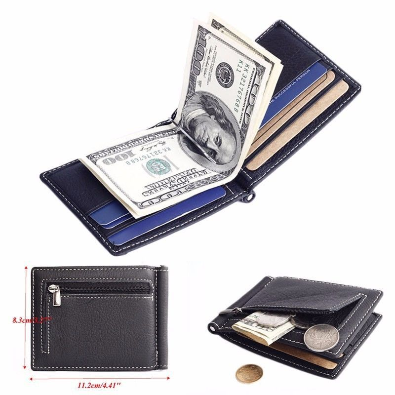 Men/'s Leather Money Cash Clip Business Credit ID Card Holder Wallet Purse Slim