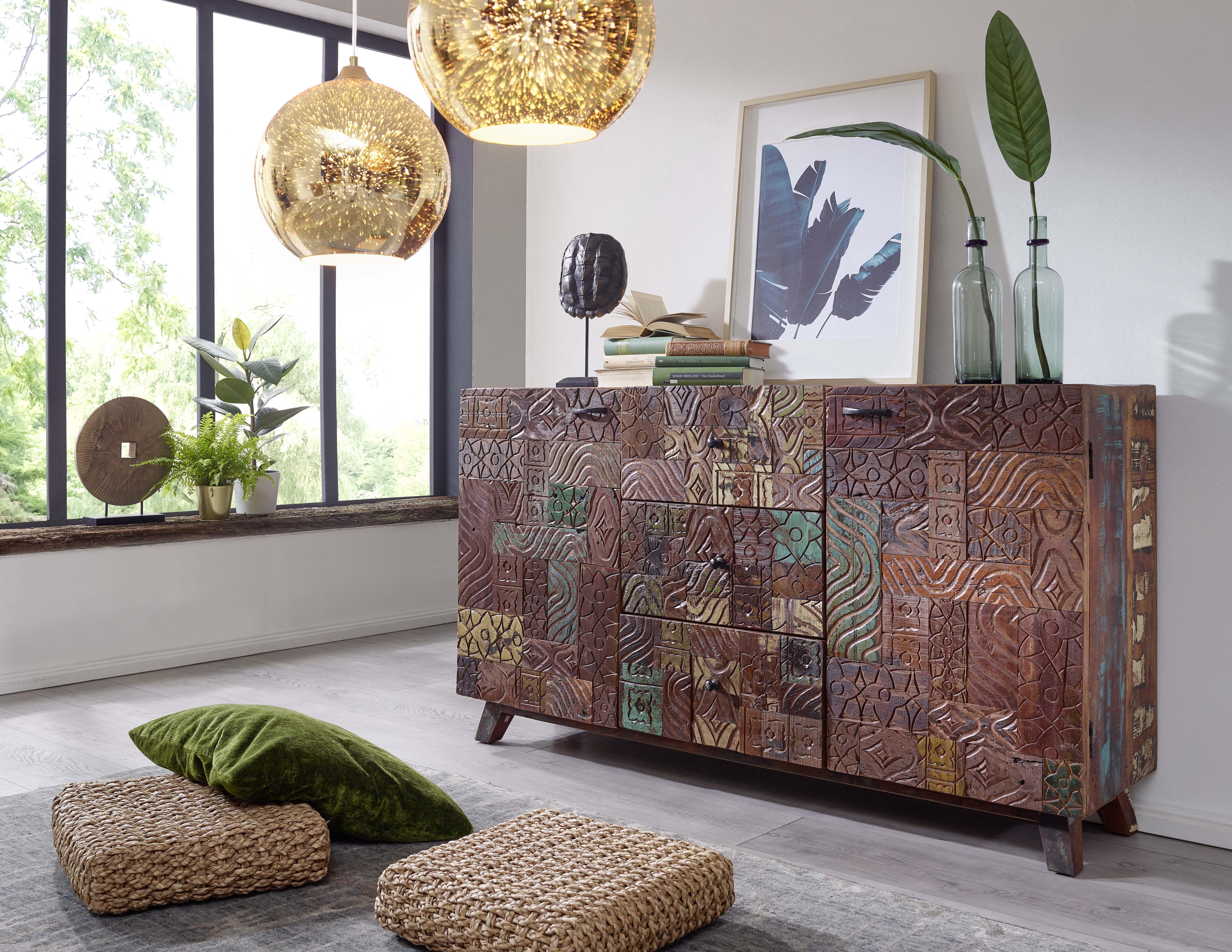 Wohnling Sideboard Carved Wl5 545 Aus Recyceltem Massivholz Commode Furniture Home Decor Decor