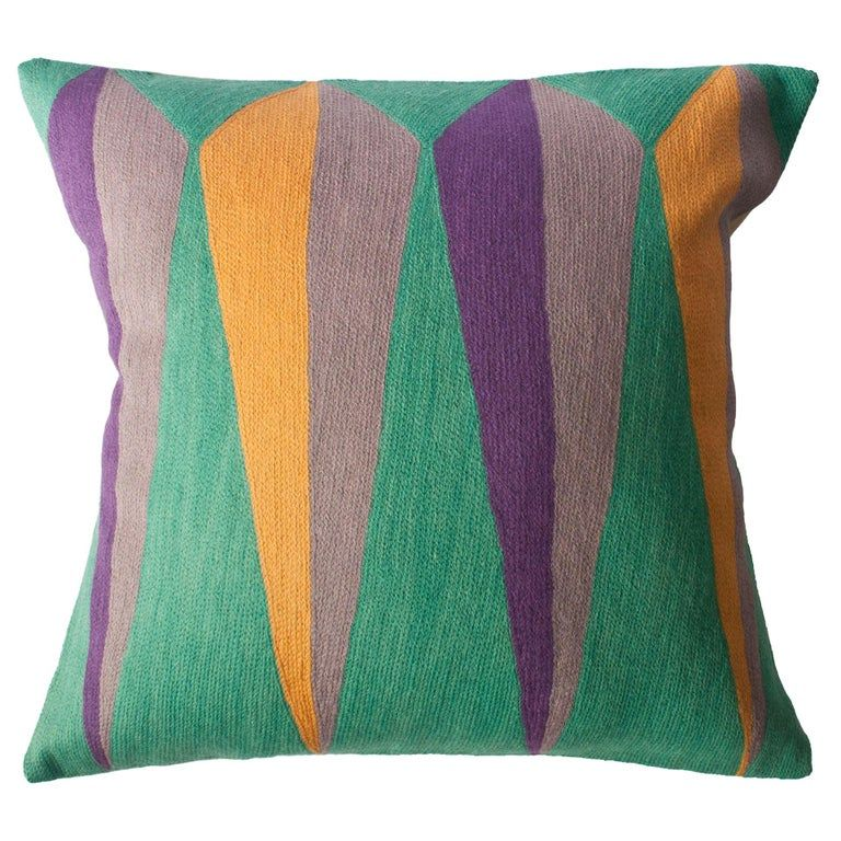 Leah Singh - Zimbabwe Root Hand Embroidered Geometric Throw Pillow Cover Zimbabwean Modern Cotton, Wool