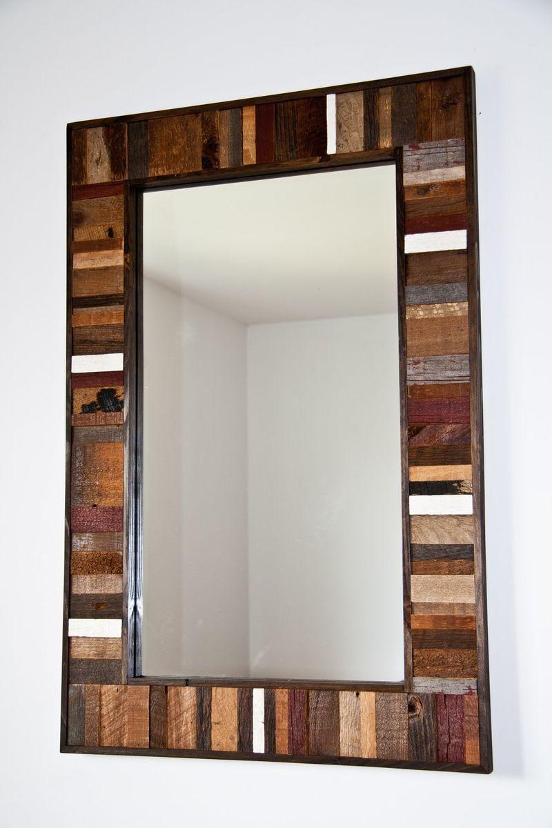 Custom made reclaimed wood mirror frame 36x24x114