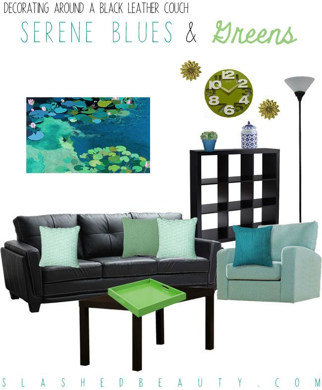 Decorating Around a Black Leather Couch Decorating Green color