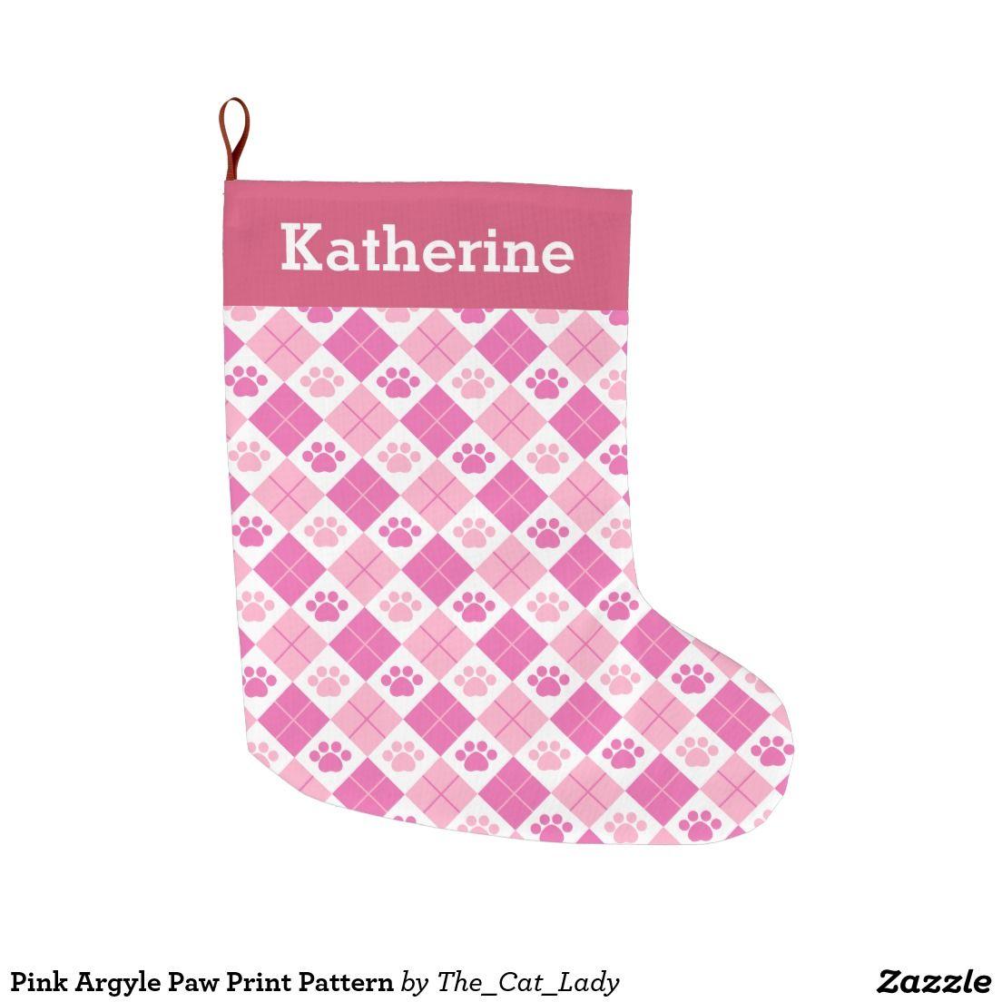 Pink Argyle Paw Print Pattern Large Christmas Stocking | Christmas ...