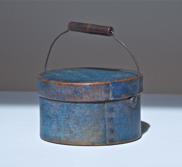 Little blue pantry box marked Winchendon, Mass., early 19th c.