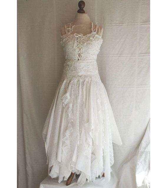 Fairy Wedding Dress Upcycled Clothing Tattered Romantic Dress Upcycled Woman's Clothing Shabby Chic Funky Eco Style