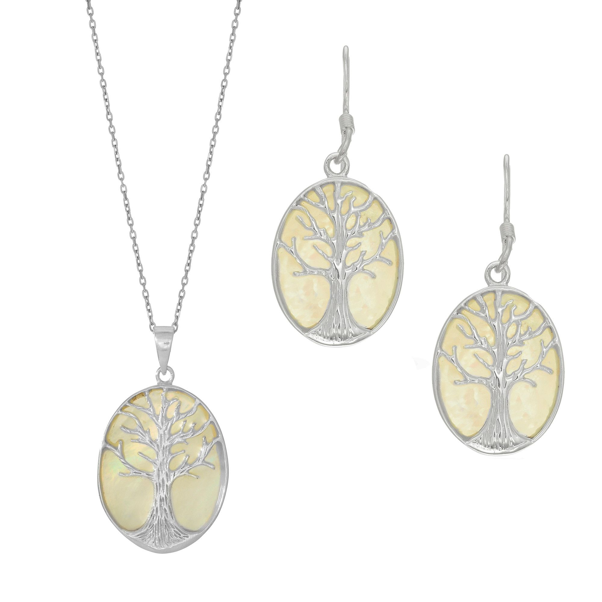 Sterling silver rhodium plated and mother of pearl pendant tree of