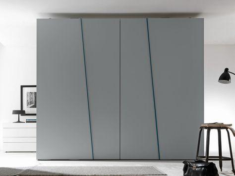 Sectional lacquered wardrobe with sliding doors diagonal for Presotto industrie mobili
