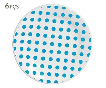 Jogo de Pratos para Sobremesa Poá Azul - 21cm