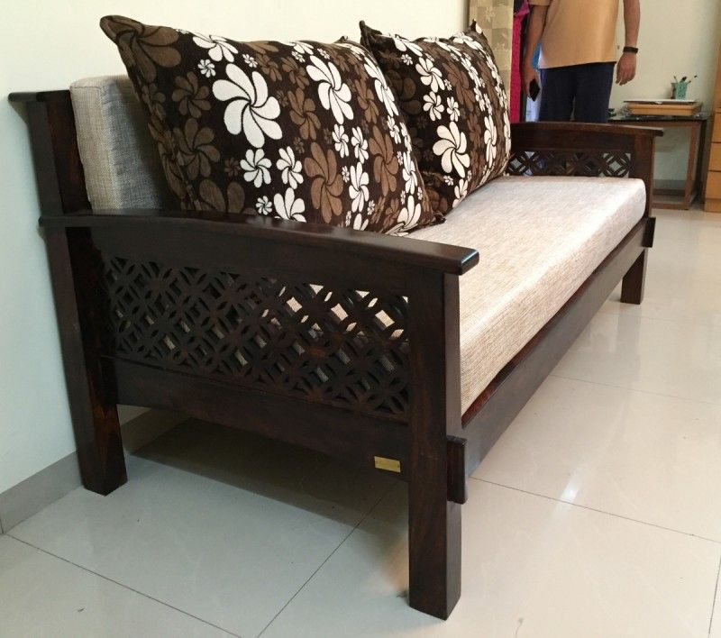 Lotus Wooden Sofa (With images) | Wooden sofa set, Wooden ...