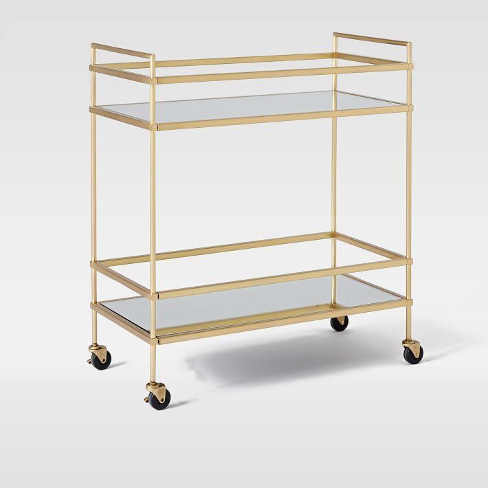 Terrace Bar Cart, Antique Brass/Glass/Mirror - $399