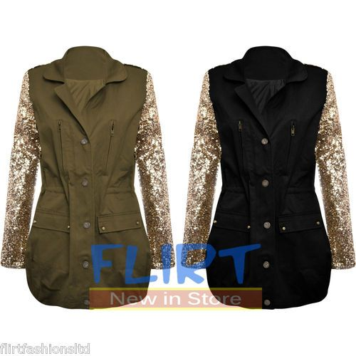 Womens Military Jacket Ladies Celebrity Gold Sequin Parka Zip Up Button Coat New http://stores.ebay.co.uk/Flirt-Fashions-Ltd www.FlirtyWardrobe.com