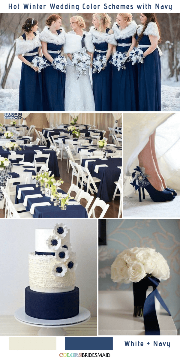 9 Gorgeous Navy Blue Winter Wedding Color Palettes is part of Blue winter wedding - Navy Blue is a rich color that matches many colors and make your winter wedding color palette perfect  Here we've got 9 gorgeous navy blue wedding color combos to inspire you for your winter big day  Check for inspiration!