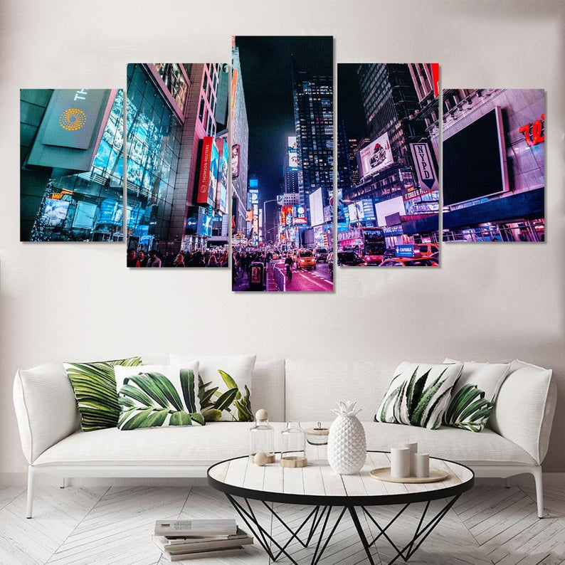 Time Square Walking Street Canvas Large Lighted Buildings Etsy Wolf Wall Art Wall Art Designs Canvas Wall Art