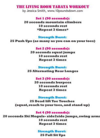 muffintop-less:    Tabata training is a GREAT way to get an intense effective workout in a very short amount of time! Give this workout a try..