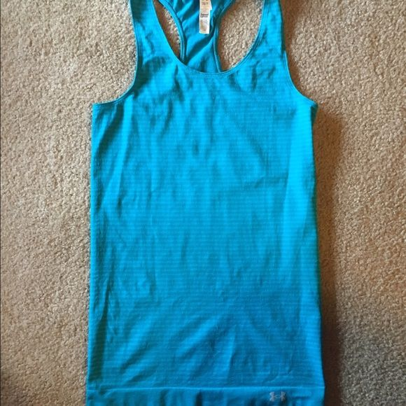 b4c1e89f300c88 Under Armour Racerback Tank Greenish-blue striped Racerback tank top. Fitted  throughout