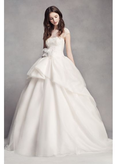 2f5d89a36df5 White by Vera Wang Lace Illusion Wedding Dress Style VW351315, Ivory ...