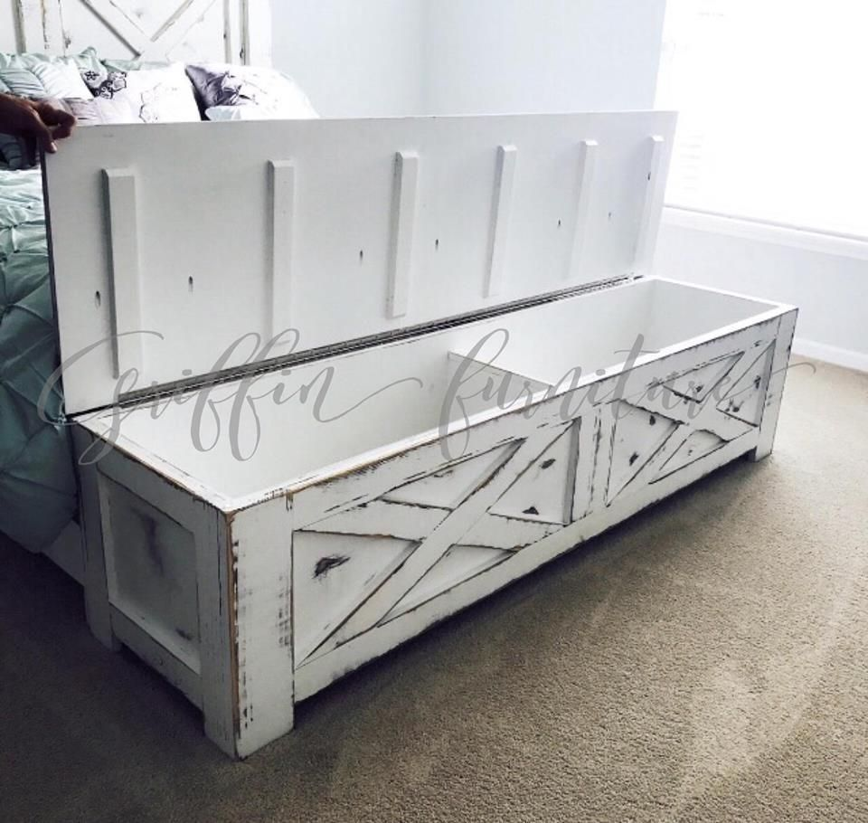 Wood Bed Frame With Storage Compartment In The Foot Board This Bed Is Great For Storing Blankets And Bed Frame With Storage Storage Footboard Rustic Bed Frame